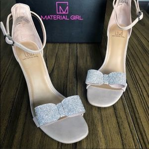 Madden Girl nude ankle strap heels sandals bow